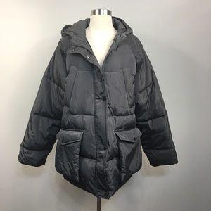 NWT ASOS Silver Puffer Maternity Hood Coat Size 12